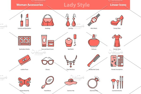 Woman Accessories Color Icons Set