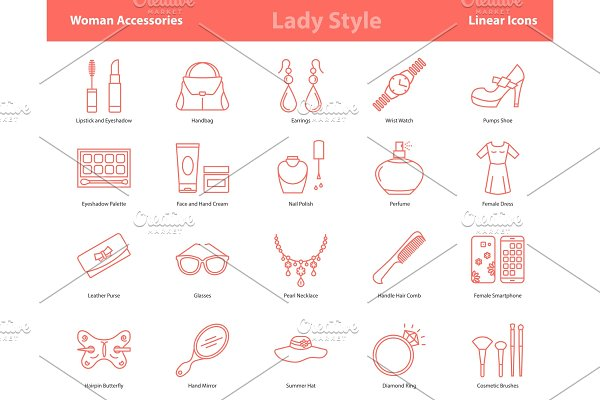 Woman Accessories Outline Icons Set