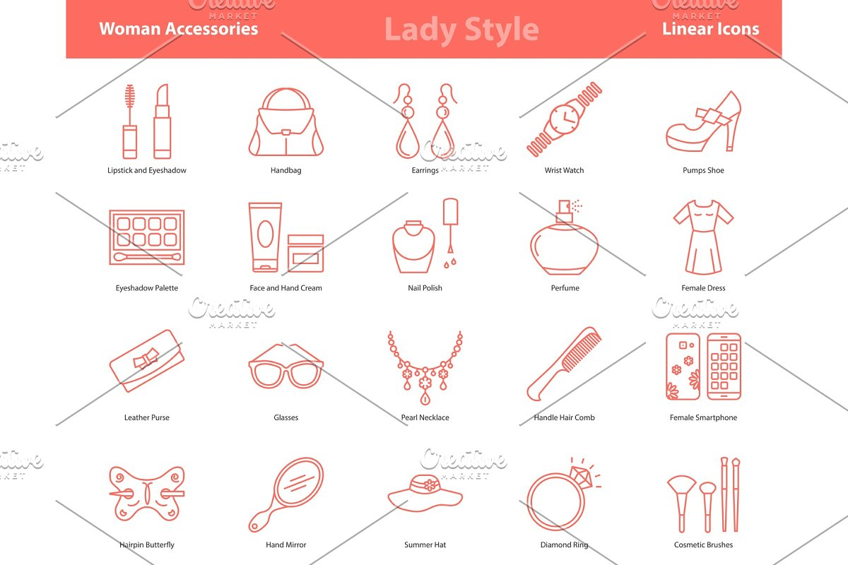 Woman Accessories Outline Icons Set in Illustrations - product preview 8