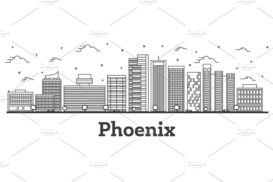 Outline Phoenix Arizona City Skyline
