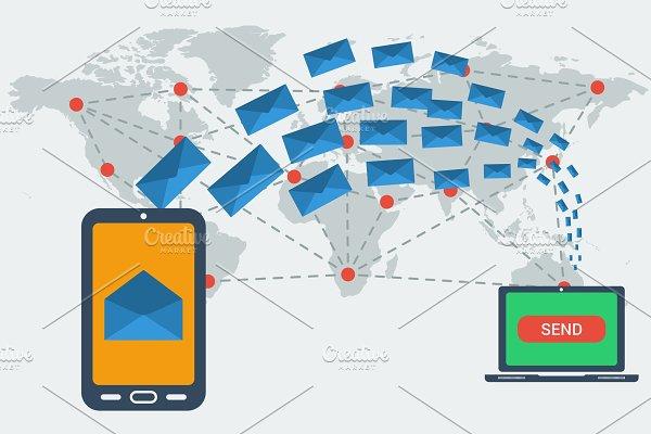 E-mailing worldwide concept
