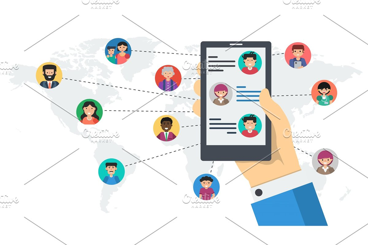 Long banner - social networking by in Illustrations - product preview 8