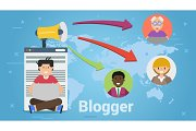 Flat style of blogger spreading news