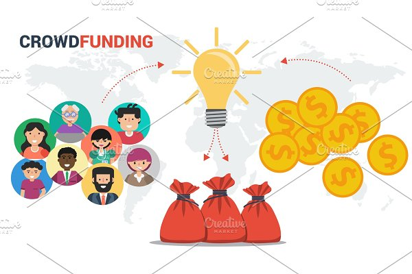 Crowdfunding concept in vector