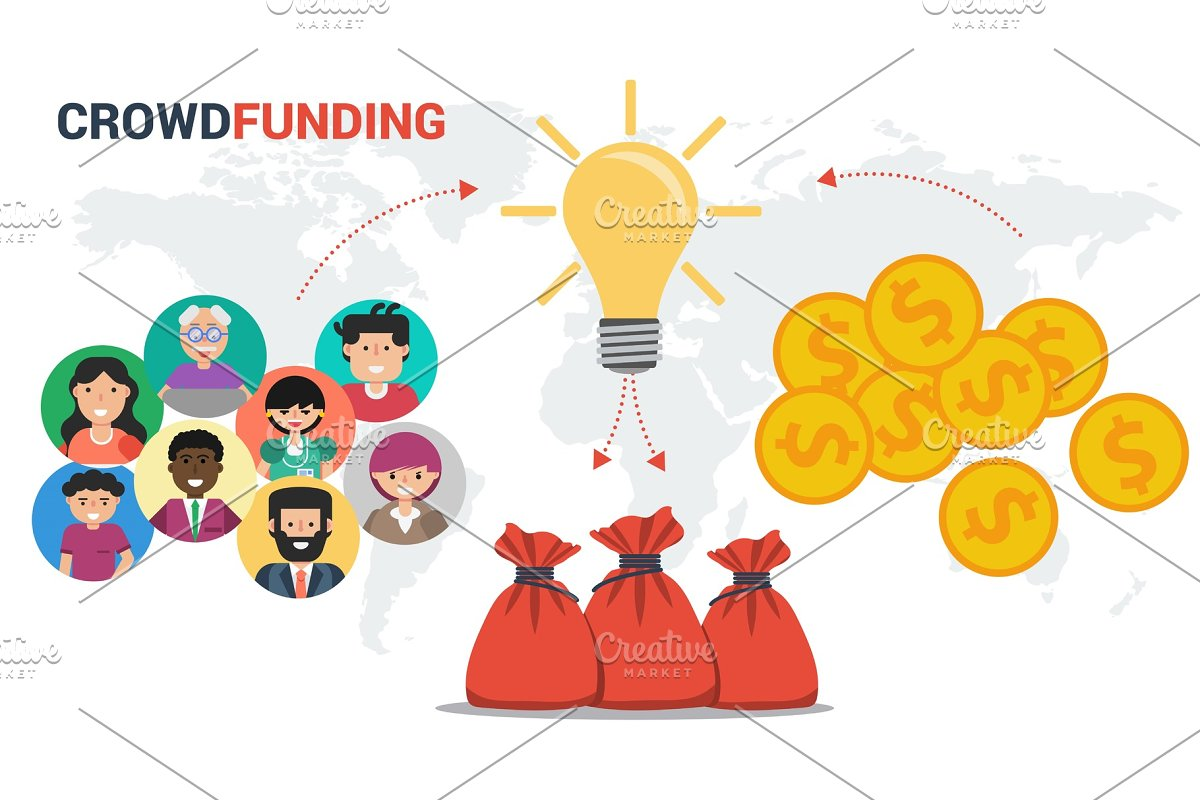 Crowdfunding concept in vector in Illustrations - product preview 8