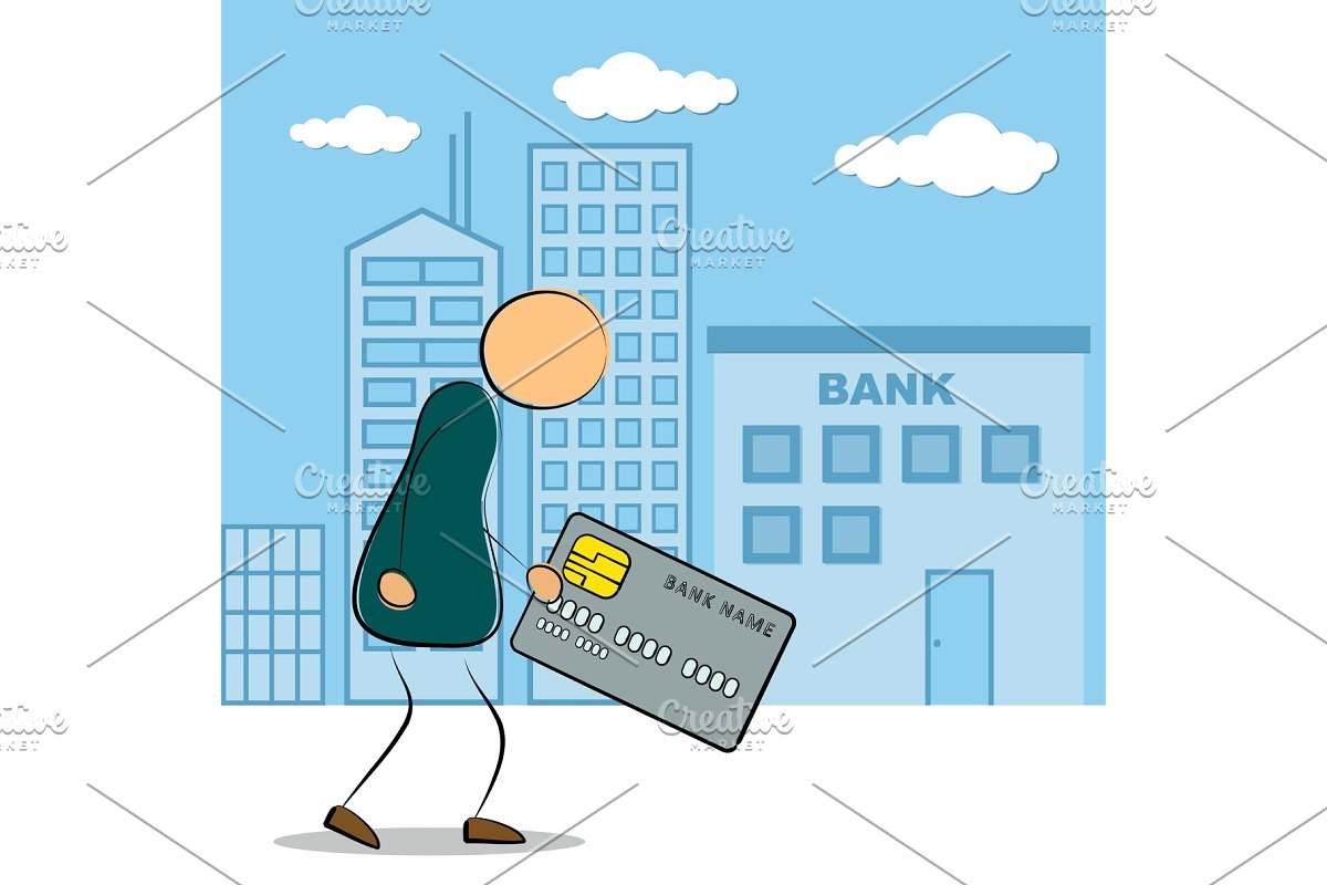 Man going to bank building with in Illustrations - product preview 8