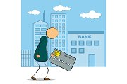 Man going to bank building with