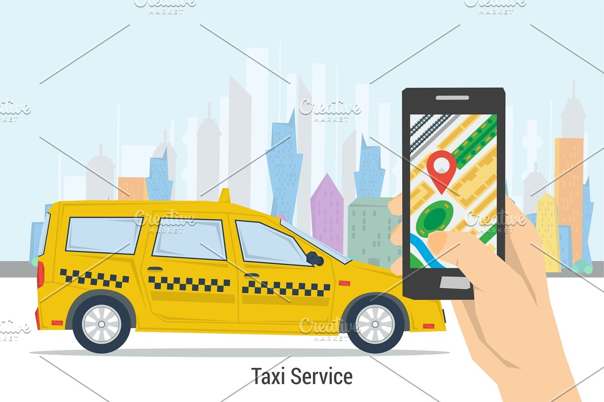 Mobile taxi order - best service in Illustrations - product preview 8