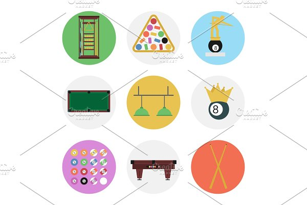 Nine color flat billiards icon set