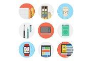 Nine color flat icon set - Designer
