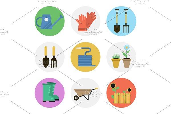 Nine color flat icon set - GARDENING
