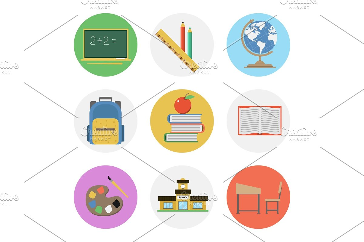 Nine color flat icon set - School in Illustrations - product preview 8