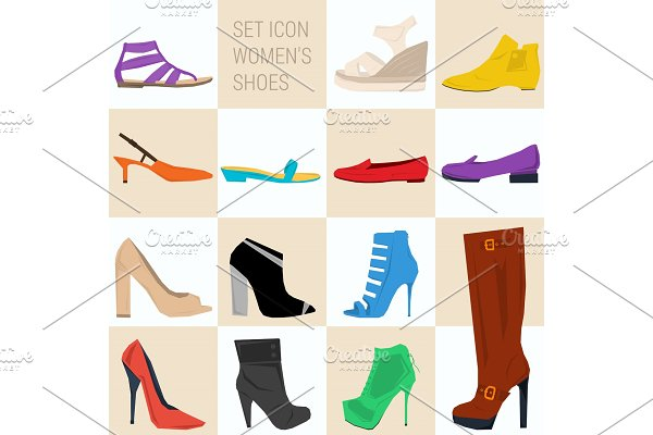 Set of icon women shoes in flat