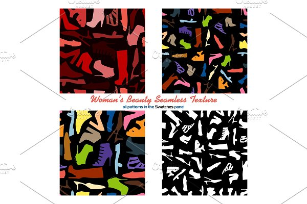 Set of four seamless pattern - woman