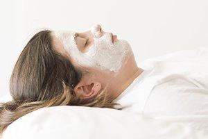 Cosmetic Mask. Beautiful Young Woman