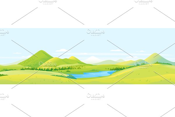 Large panorama of hills and slopes