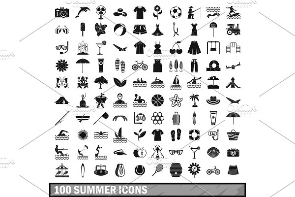 100 summer icons set in simple style