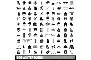 100 winter icons set in simple style