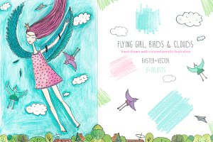 Flying girl,birds and clouds