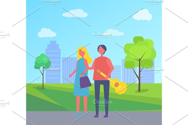 Young Couple Walking in Park Cartoon