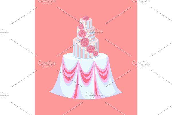 Wedding Cake on Table with