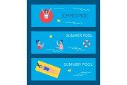 Summer Pool Poster Text Set Vector