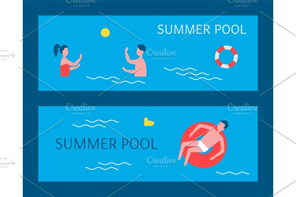 Summer Pool Posters Swimming Vector