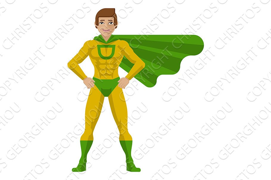 Superhero Man Cartoon in Illustrations - product preview 8
