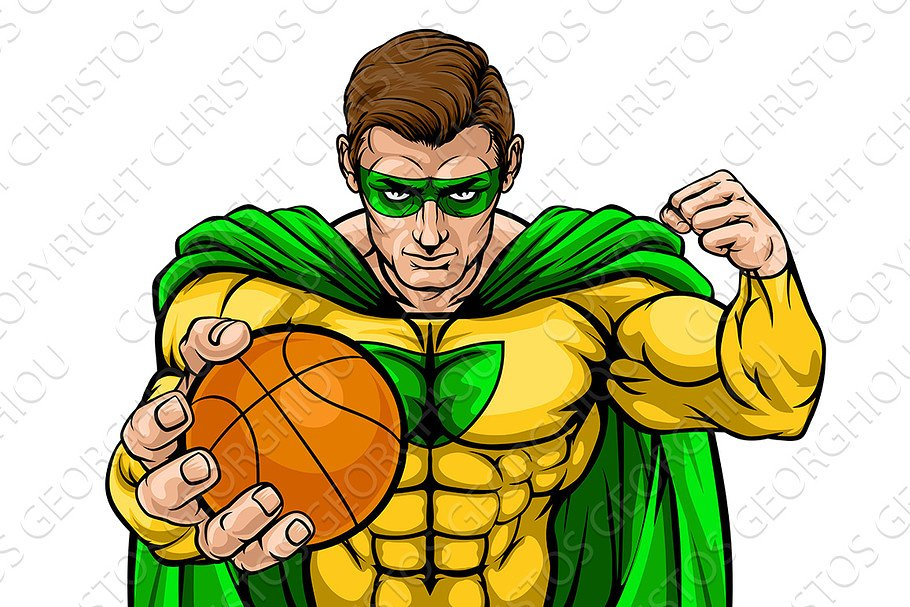 Superhero Holding Basketball Ball