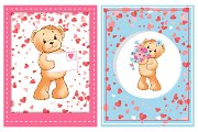 Valentine Furry Bear with Flower and