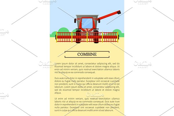 Combine Machine Field Poster Vector