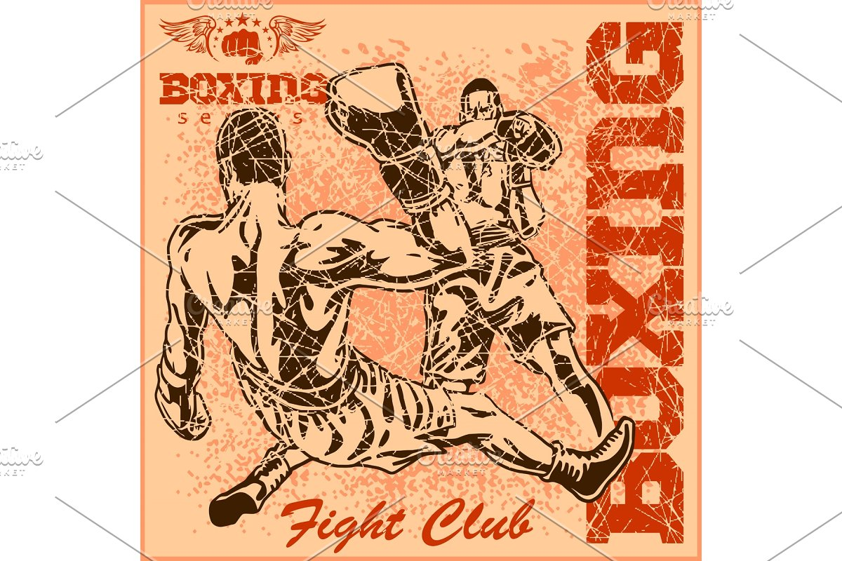 Vintage boxing poster in Illustrations - product preview 8