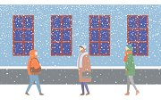 Wintertime Couples of People Walking