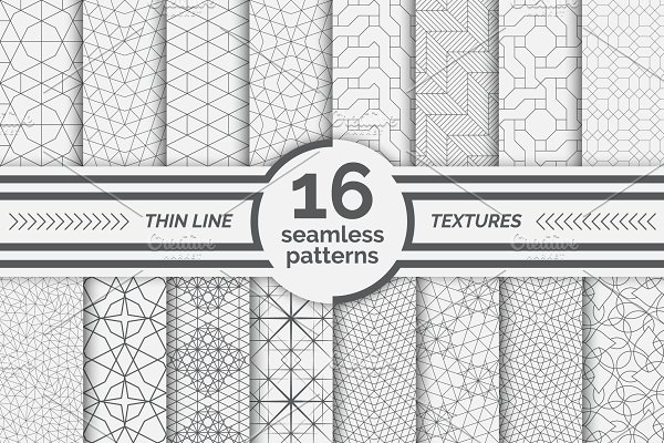 Linear seamless patterns. Big set
