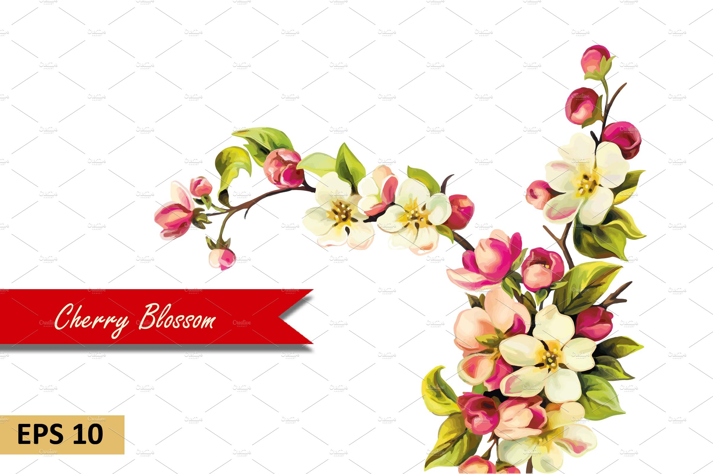 Cherry blossom flowers vector graphic objects creative market mightylinksfo
