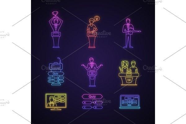 Quiz show neon light icons set