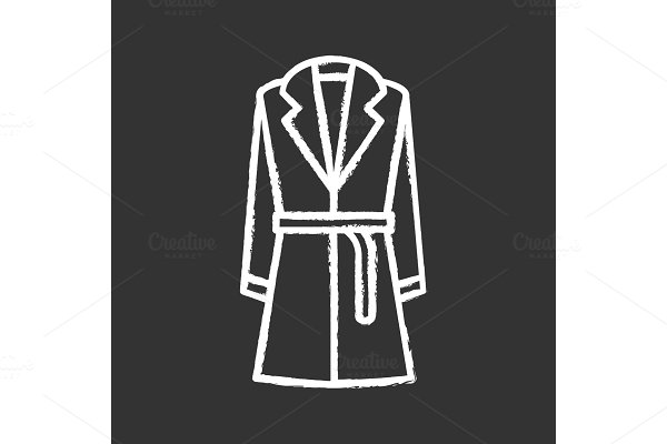 Trench coat with belt chalk icons