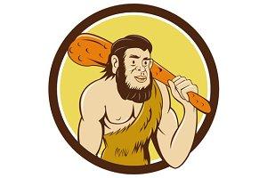 Neanderthal Man Holding Club Circle
