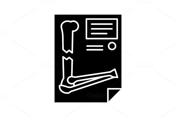 Bone fracture diagnosis glyph icon