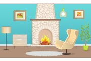 Interior of Flat with Chimney and