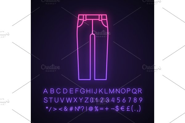Jeans neon light icon