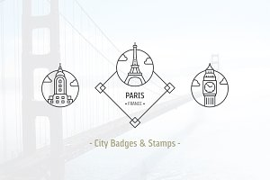 24 City Badges & Vector Stamps