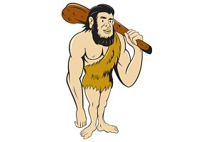 Caveman Neanderthal Man Holding Club