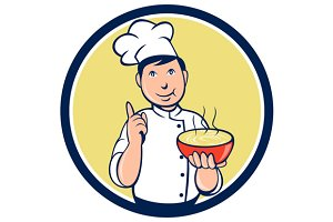 Chef Cook Bowl Pointing Circle Carto