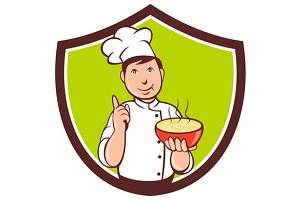 Chef Cook Bowl Pointing Crest Cartoo