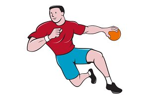 Handball Player Throwing Ball Cartoo