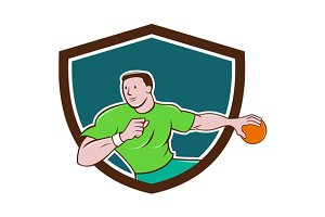 Handball Player Throwing Ball Crest