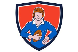 Vintage French Rugby Player Holding