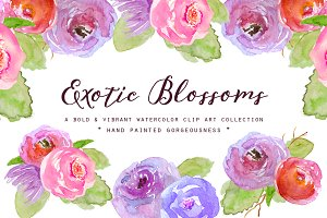 Watercolor Exotic Blossoms Clipart