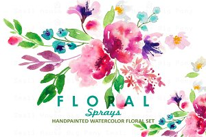 Floral Sprays-Watercolor Clip Art